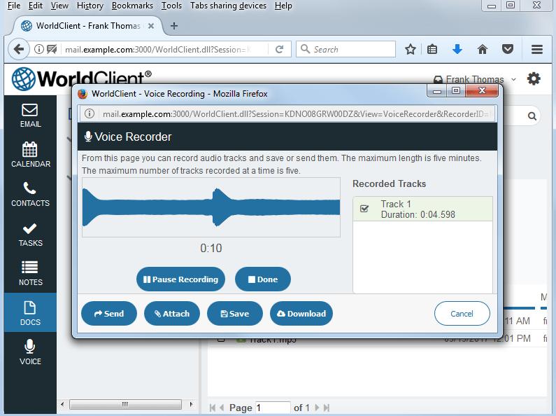 WorldClient Voice Recorder