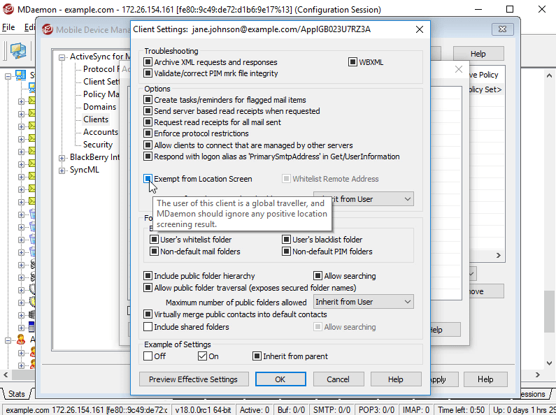 Exempt Mobile ActiveSync Devices from Location Screening