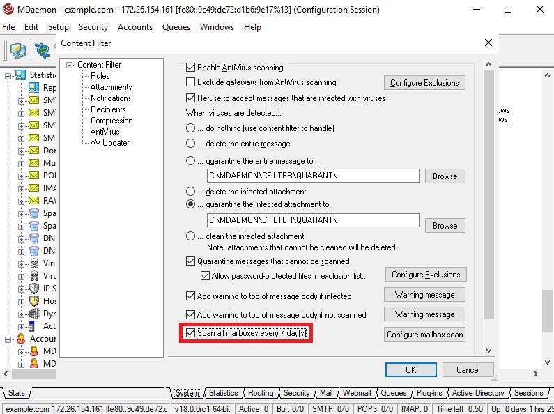 MDaemon Antivirus Mailbox Scan
