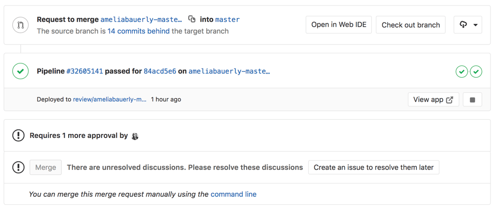 More information about deployments in merge requests