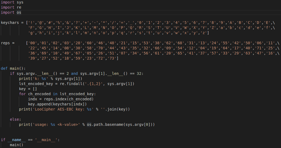 Fig. 11. Script to decode LooCipher AES key