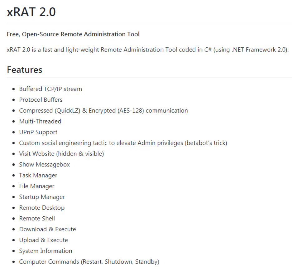 Fig. 12. Features of xRAT 2.0 as seen on Github