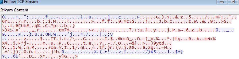 Fig. 14. Encrypted Traffic on Port 63989