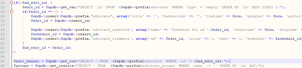 Figure 2: The SELECT statement in adverts-edit.php is used for getting advertisements from the DB