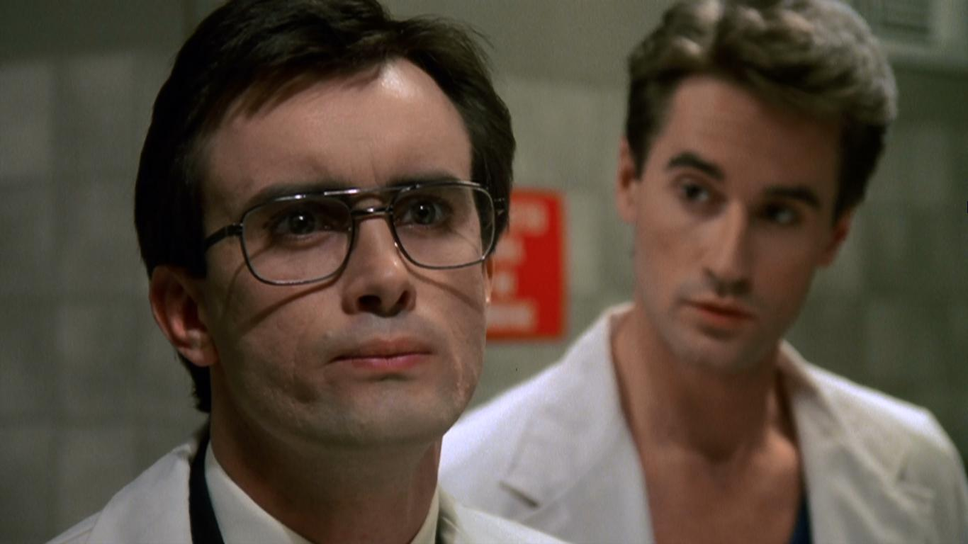 Jeffrey Combs and Bruce Abbott in Re-Animator