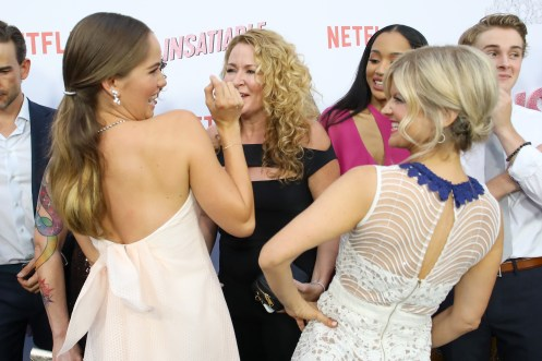 """LOS ANGELES, CA - AUGUST 09: Debby Ryan and Arden Myrin attend Netflix's """"Insatiable"""" Premiere And After Party on August 9, 2018 in Los Angeles, California. (Photo by Rachel Murray/Getty Images for Netflix) *** Local Caption *** Debby Ryan;Arden Myrin"""