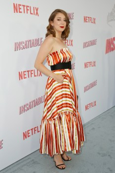 """LOS ANGELES, CA - AUGUST 09: Kimmy Shields attends Netflix's """"Insatiable"""" Premiere And After Party on August 9, 2018 in Los Angeles, California. (Photo by Rachel Murray/Getty Images for Netflix) *** Local Caption *** Kimmy Shields"""