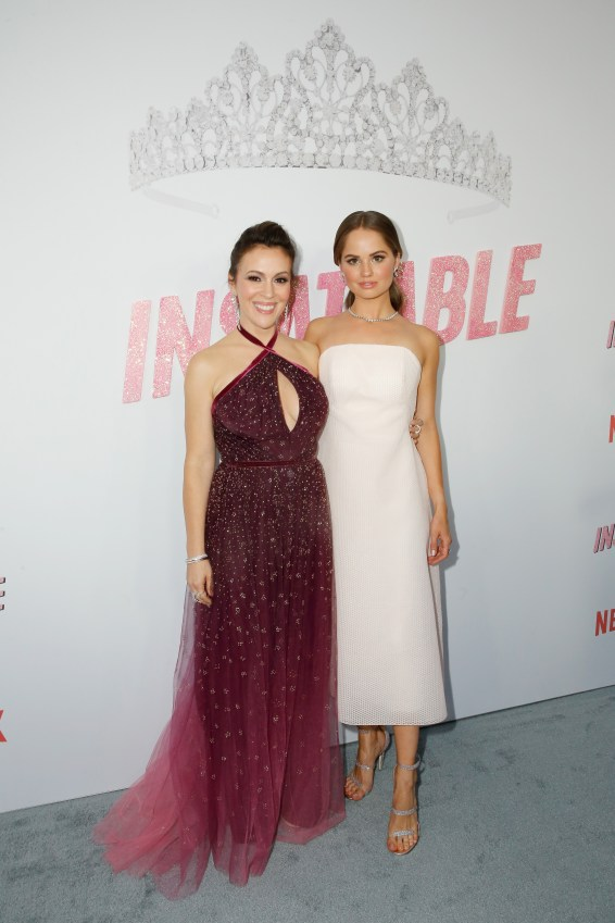 "LOS ANGELES, CA - AUGUST 09: Alyssa Milano and Debby Ryan attend Netflix's ""Insatiable"" Premiere And After Party on August 9, 2018 in Los Angeles, California. (Photo by Rachel Murray/Getty Images for Netflix) *** Local Caption *** Debby Ryan;Alyssa Milano"