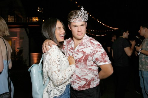 """LOS ANGELES, CA - AUGUST 09: Chloe Bridges and Adam DeVine attend Netflix's """"Insatiable"""" Premiere And After Party on August 9, 2018 in Los Angeles, California. (Photo by Rachel Murray/Getty Images for Netflix) *** Local Caption *** Chloe Bridges;Adam DeVine"""