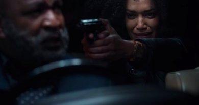 Queen Sono points a gun at Dr Sid in Queen Sono season 1, episode 5, - Sugar Water - Netflix