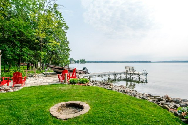 073 26 fire rte 103 bobcaygeon ON firepit dock - WATERFRONT ~ 4 SEASON COTTAGE FOR SALE ON PIGEON LAKE