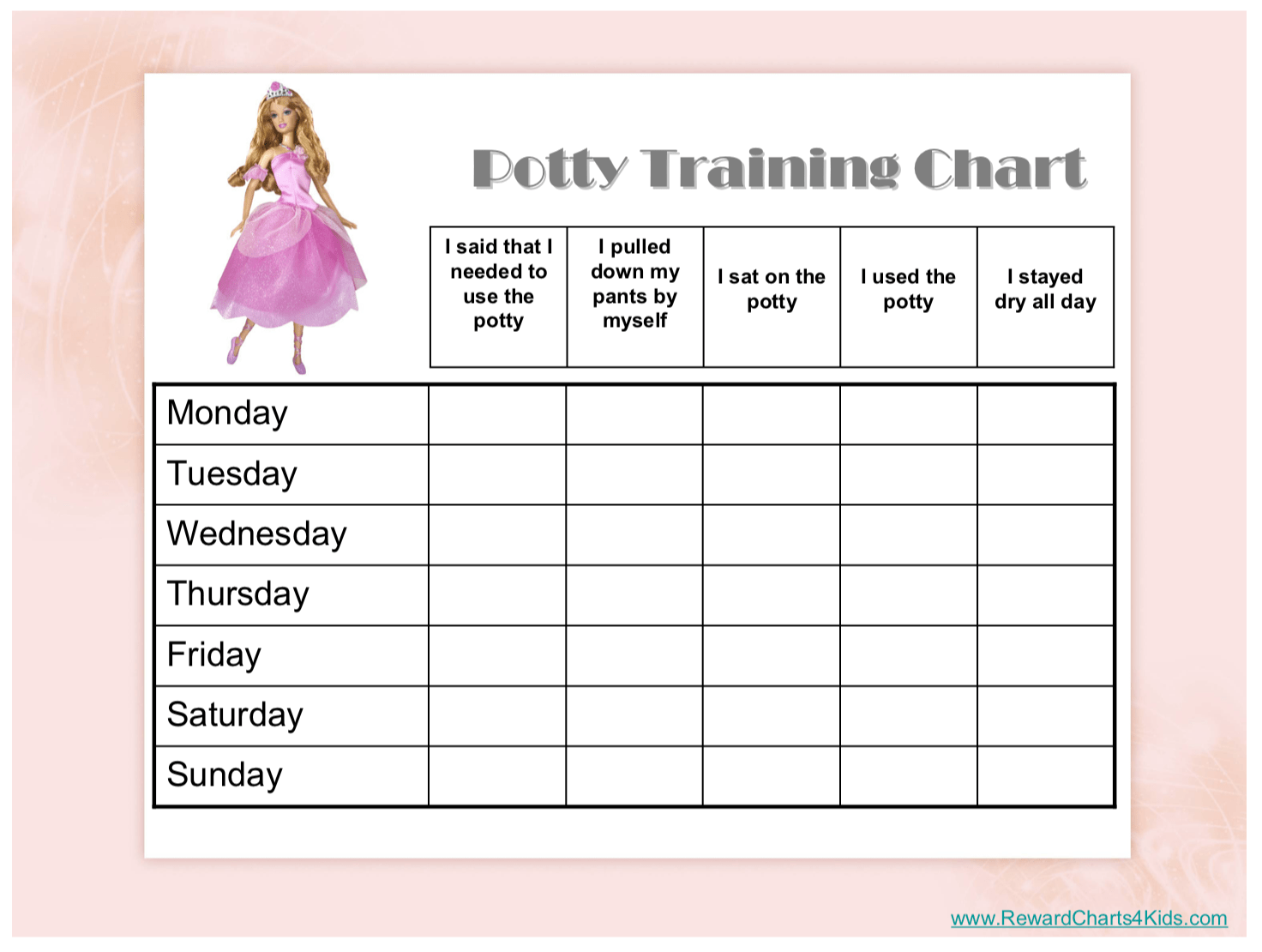 photograph relating to Potty Training Chart Printable identified as Absolutely free Printable Potty Doing exercises Charts - Prepared toward Potty!