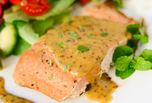 Salmon with Honey Mustard Mint Sauce