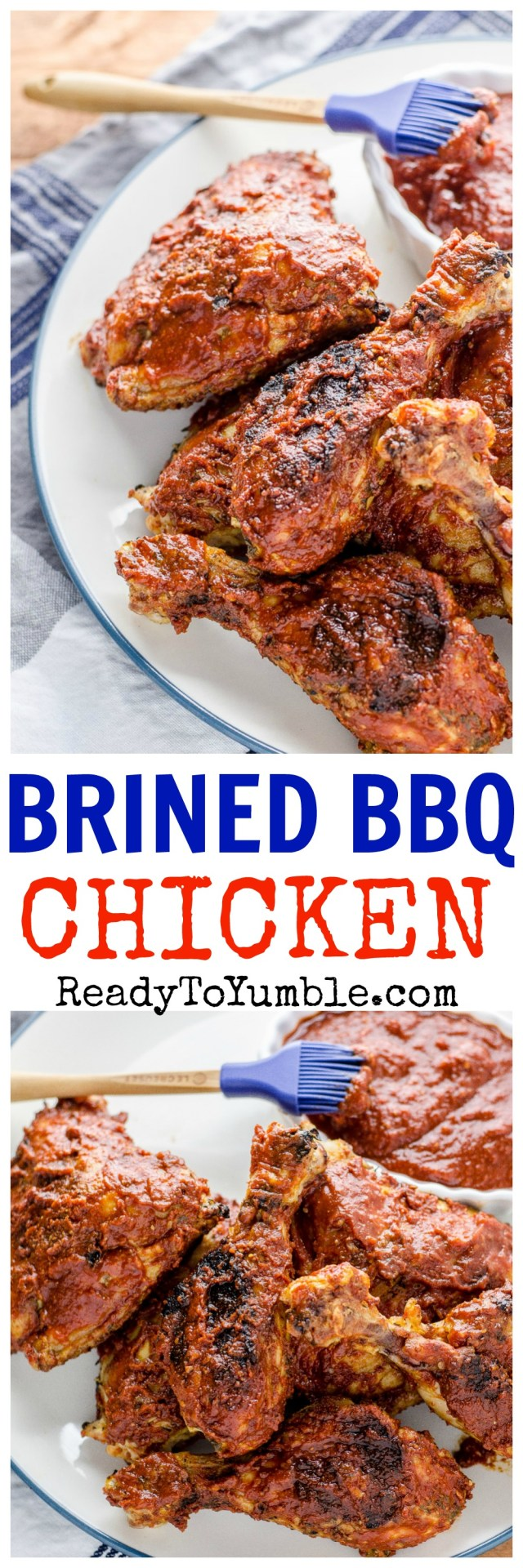Brined Barbecue Chicken is the juiciest and most flavorful way to grill up a chicken dinner.
