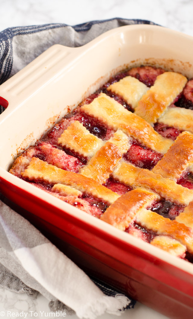 Cherry Lattice Coffee Cake looks gorgeous, tastes scrumptious, and even freezes beautifully! Make it ahead of time for a holiday breakfast that's ready in a snap.