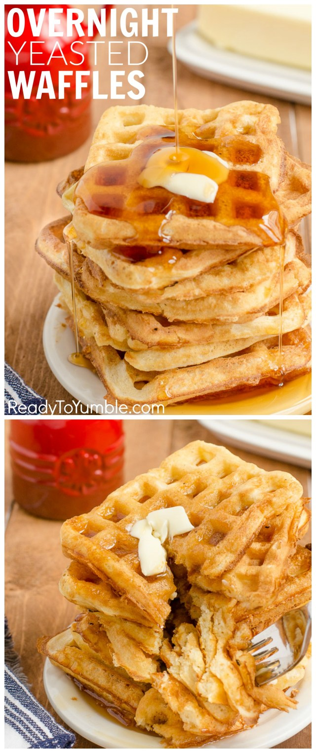 Overnight Yeasted Waffles are a light, crispy, and oh-so-easy way to start your weekend brunch, or even a weekday breakfast. All the prep happens the night before!