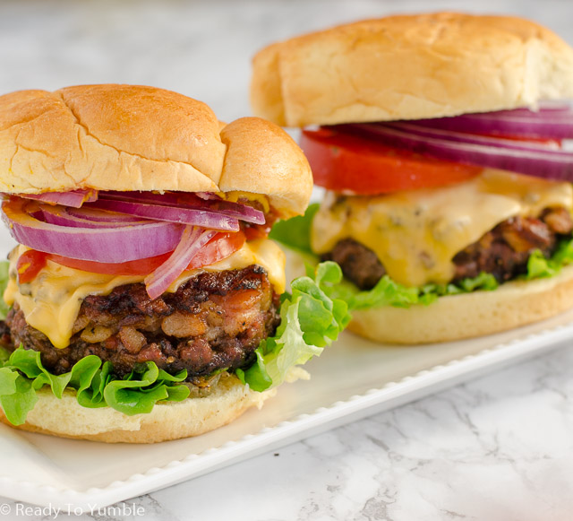 These insanely good bacon burgers packed a ton of chopped bacon right into the burger patty. Pair with your favorite toppings for unbeatable flavor!