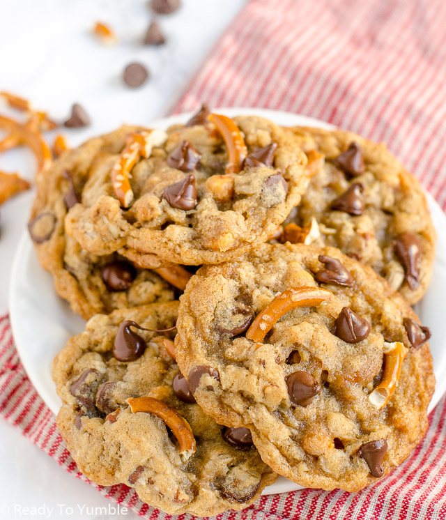 Sweet and Salty Cookies combine some of my favorite treats - pretzels, chocolate chips, and butterscotch - in one soft and chewy cookie with a ton of flavor!