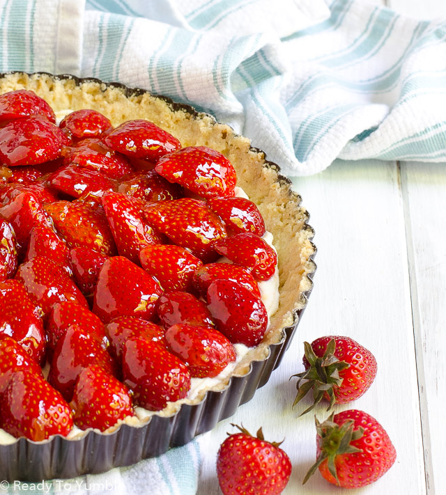 This Strawberry Ricotta Tart has a simple shortbread crust, a lightly sweetened filling, and a gorgeous strawberry topping. It's the perfect summer dessert...and you don't have to tell anyone how easy it is to make!