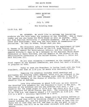 first page speakes press briefing 2 july 1986