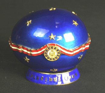 White House faberge-style egg in blue and gold