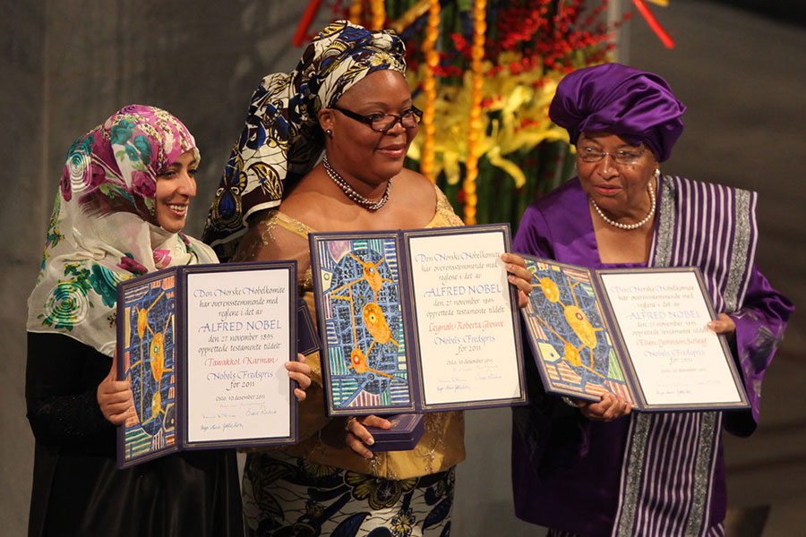 From left: Yemeni activist Tawakkul Karman, Liberian 'peace warrior' Leymah Gbowee and Liberian President Ellen Johnson Sirleaf jointly won the 2011 Nobel Peace Prize.