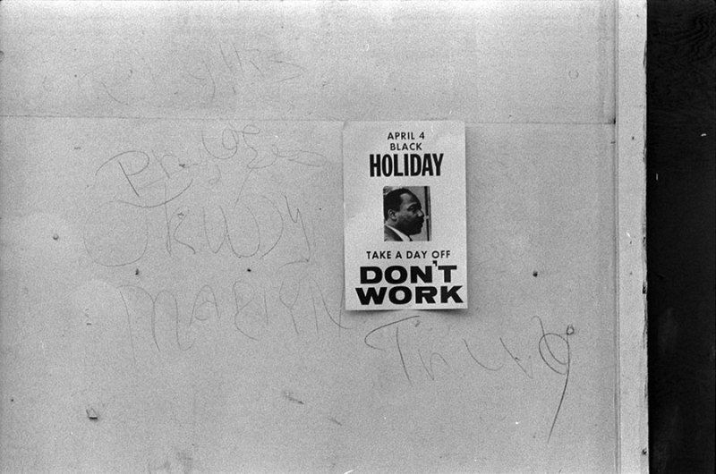 Sign from 1969 promoting a holiday to honor the anniversary of the assassination of Martin Luther King, Jr.