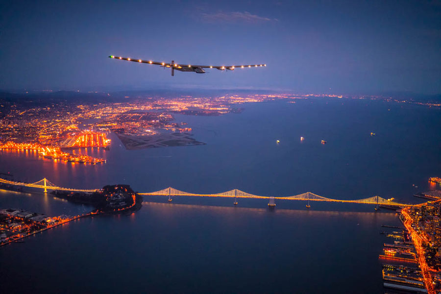 Mountain View, USA, April 23rd 2016: Solar Impulse landed at Moffett Airfield, completing the pacific crossing. Departed from Abu Dhabi on march 9th 2015, the Round-the-World Solar Flight will take 500 flight hours and cover 35í000 km. Swiss founders and pilots, Bertrand Piccard and AndrÈ Borschberg hope to demonstrate how pioneering spirit, innovation and clean technologies can change the world. The duo will take turns flying Solar Impulse 2, changing at each stop and will fly over the Arabian Sea, to India, to Myanmar, to China, across the Pacific Ocean, to the United States, over the Atlantic Ocean to Southern Europe or Northern Africa before finishing the journey by returning to the initial departure point. Landings will be made every few days to switch pilots and organize public events for governments, schools and universities.