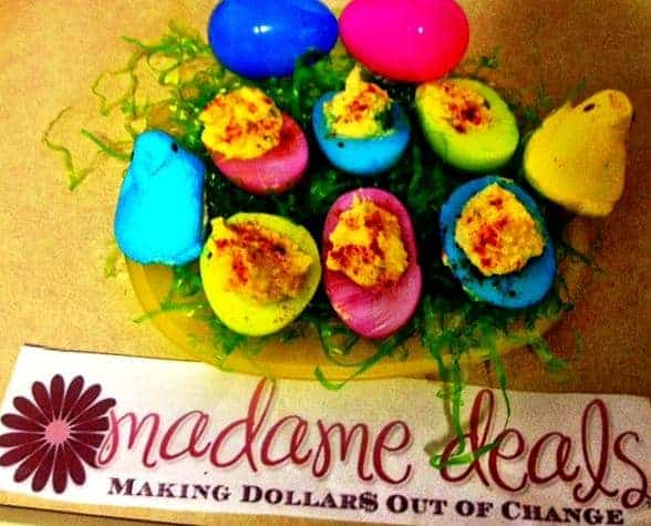 Celebrate Easter by serving these fun and oh so yummy colorful Easter Deviled Eggs that kids will love