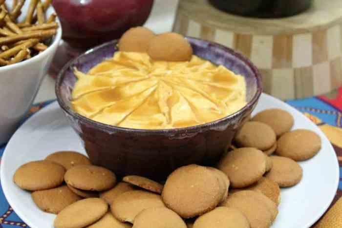 I love salted caramel pumpkin cheesecake dip with vanilla wafers