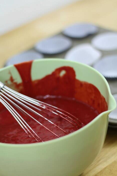 red velvet cupcake batter