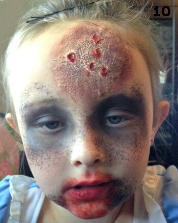 Add colors to the rest of the kids' face for  super cool Halloween zombie look.