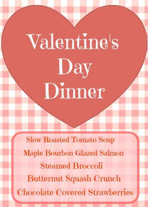 Valentines Day Dinner Menu with weight watchers points