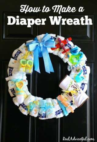 Learn how to make a baby diaper wreath