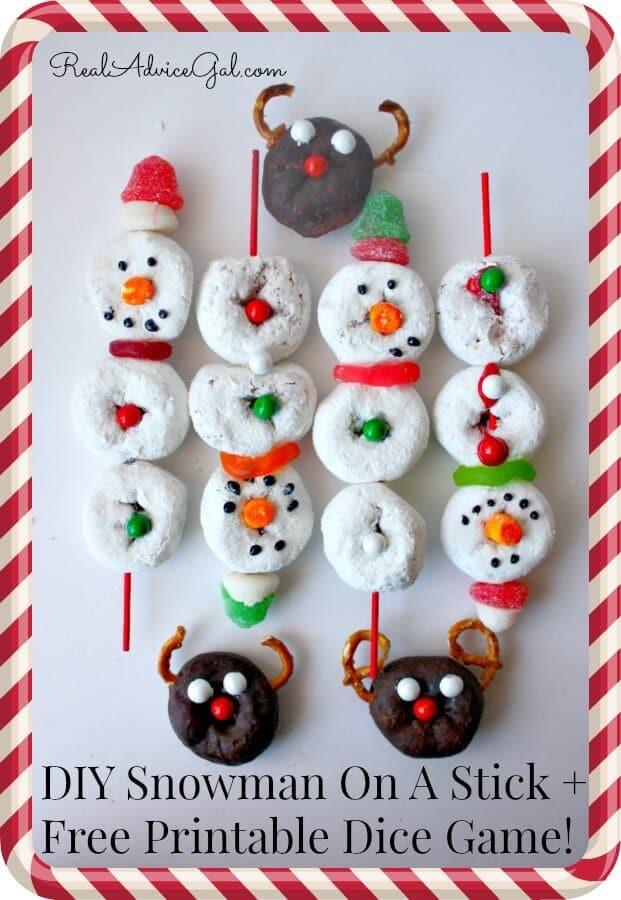 snowman on a stick donuts