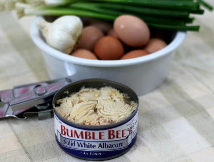 Ingredients for quick frittata recipe with tuna