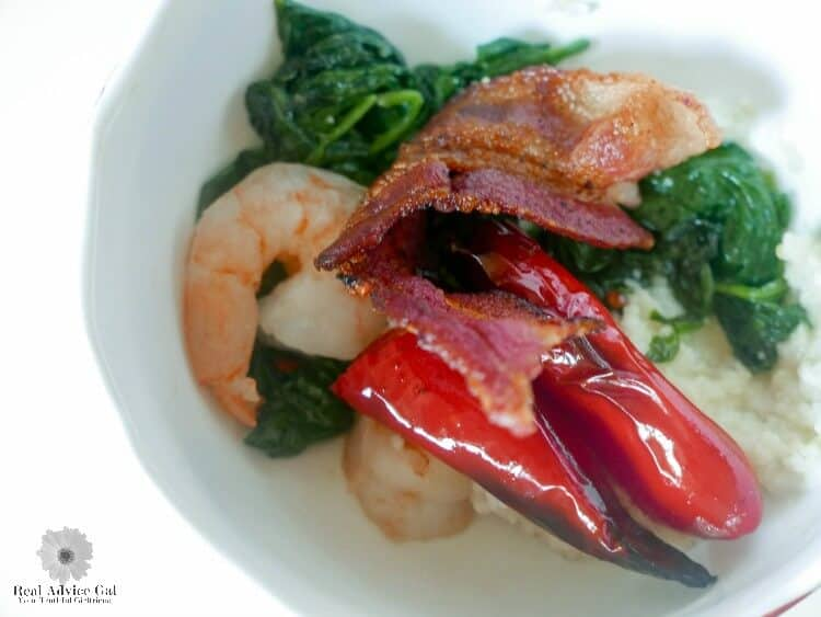 Shrimp and Grits with Bacon and Spinach