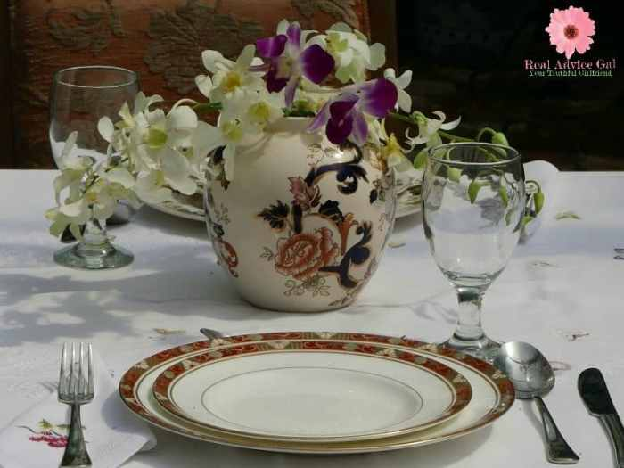 Table setting with flowers on a tea pot