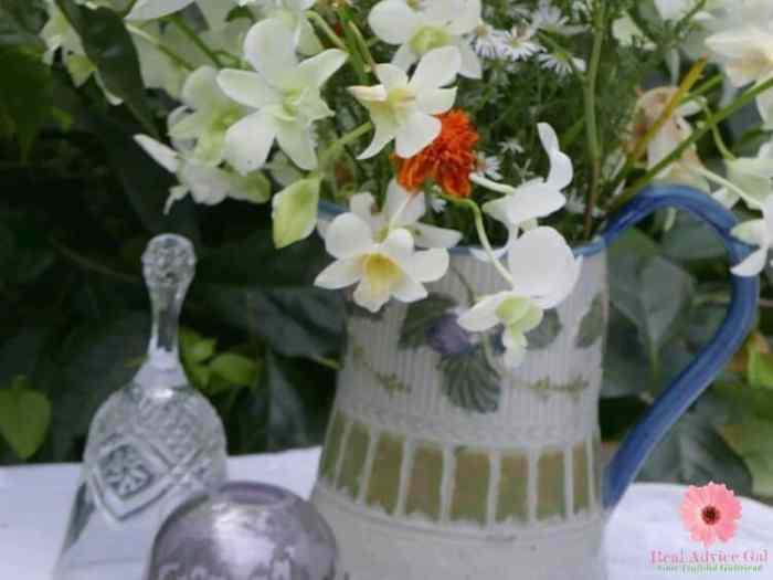 flowers in a tea pot