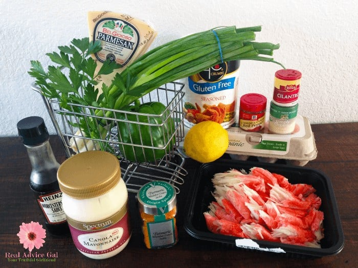 Ingredients for making crab cakes