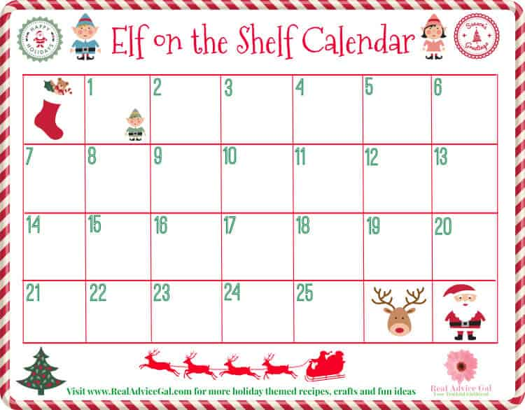 Plan your elf on the shelf ideas using our blank free printable elf on the shelf calendar