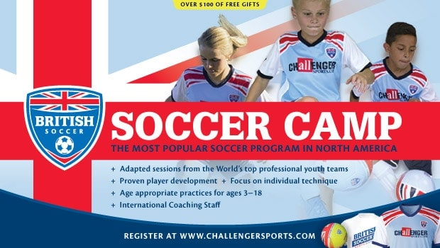 REGISTER FOR CAMP & GET A JERSEY, BALL, T SHIRT & NEW SKILLS APP AND 20 FREE VIDEOS! Register now and get your free British Soccer game jersey (value $34.95) shipped immediately, USE CODE BSC18 @ChallengerCamps