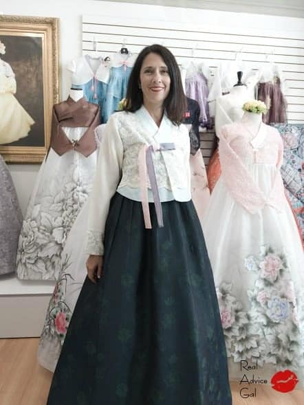 Amee wearing Korean hanbok