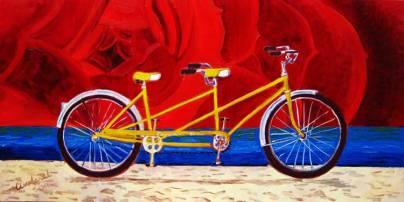 yellow tandem bike bicycle painting