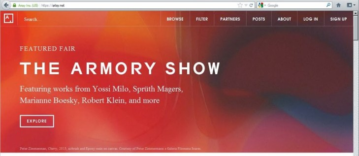 The Artsy app is featured at a number of big NYC art fairs, like The Armory Show.