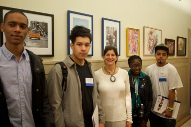 Lobby at 210 11th Avenue, with Arts Connection Teen Award Recipients