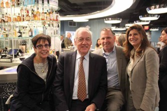 (left to right) Anita Grossberg of Douglas Elliman Commercial, Gerald H. Morganstern of Goetz Fitzpatrick LLP, and Philip Armarante of Hunter Roberts Construction Group and Glanzrock Realty Services' Cindy Farkas Glanzrock.