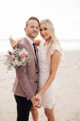 Darcie and Logan wedding photo at beach in San Diego