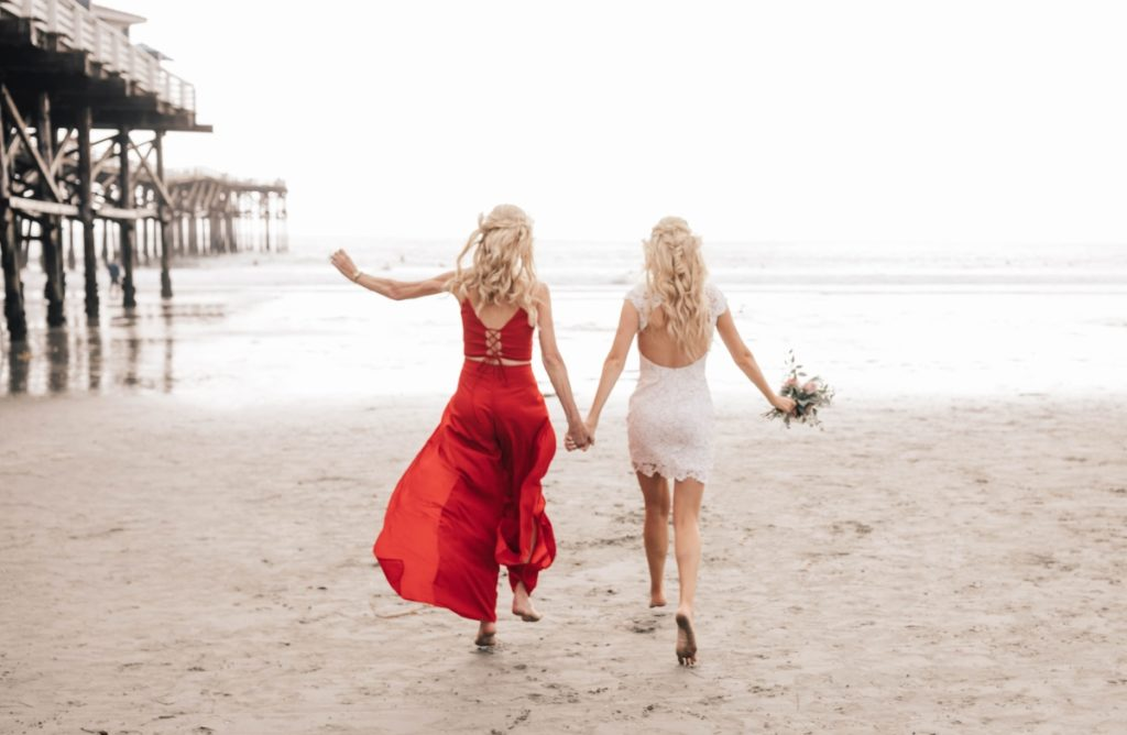 Darcie and Deb wedding photo at beach in San Diego