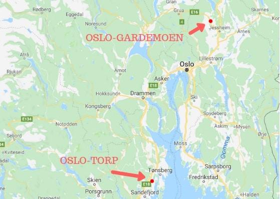 Poloha letiště Oslo Sandefjord Torp na mapě
